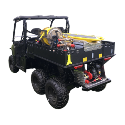 Customized Polaris Ranger with fire skid unit for wildland firefighting